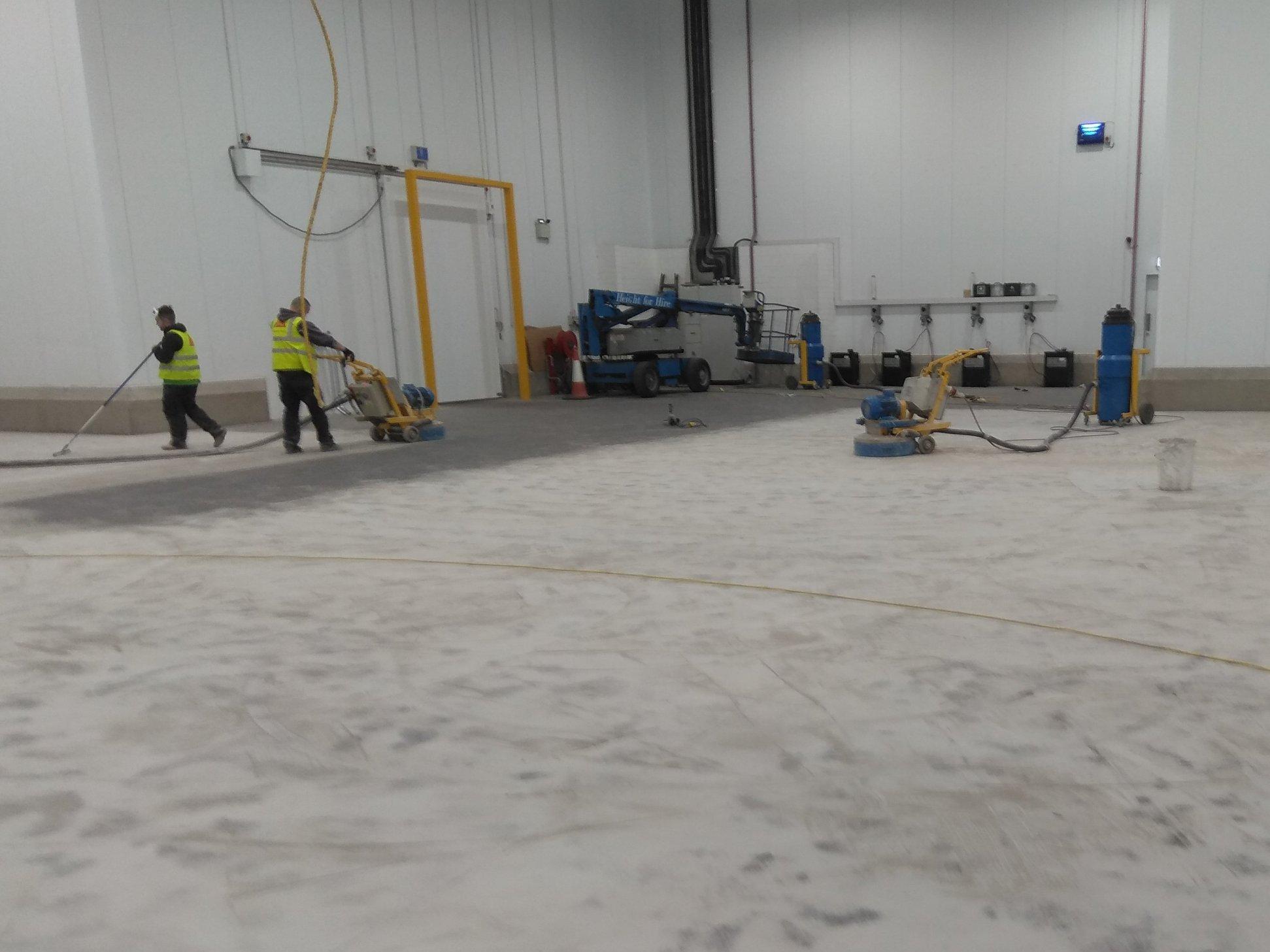 Floor grinded before being sealed.